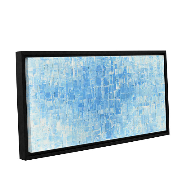 Blue White Gallery Wrapped Floater-Framed Canvas Wall Art