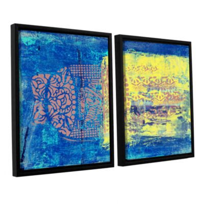 Blue With Stencils 2-pc. Floater Framed Canvas Wall Art