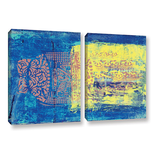 Blue With Stencils 2-pc. Gallery Wrapped Canvas Wall Art
