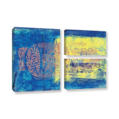 Blue With Stencils 3-pc. Flag Gallery Wrapped Canvas Wall Art