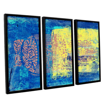 Blue With Stencils 3-pc. Floater Framed Canvas Wall Art