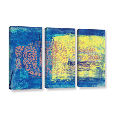 Blue With Stencils 3-pc. Gallery Wrapped Canvas Wall Art