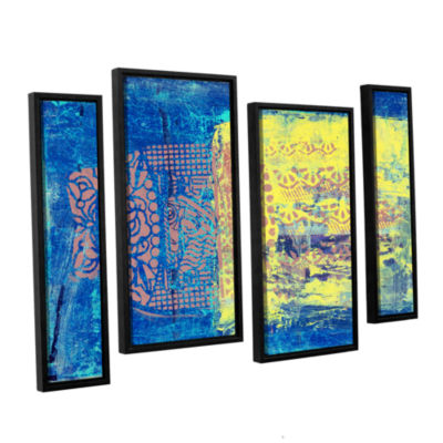 Blue With Stencils 4-pc. Floater Framed StaggeredCanvas Wall Art