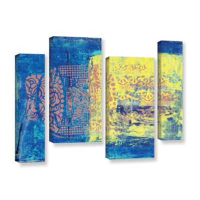 Blue With Stencils 4-pc. Gallery Wrapped StaggeredCanvas Wall Art