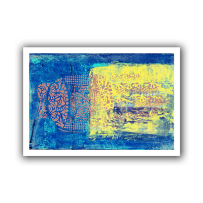 Blue With Stencils Canvas Wall Art