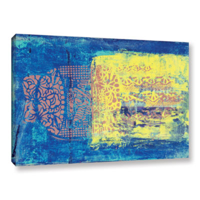 Blue With Stencils Gallery Wrapped Canvas Wall Art