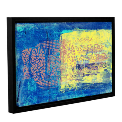 Blue With Stencils Gallery Wrapped Floater-FramedCanvas Wall Art