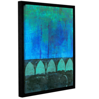 Blue-Green Abstract Gallery Wrapped Floater-FramedCanvas Wall Art