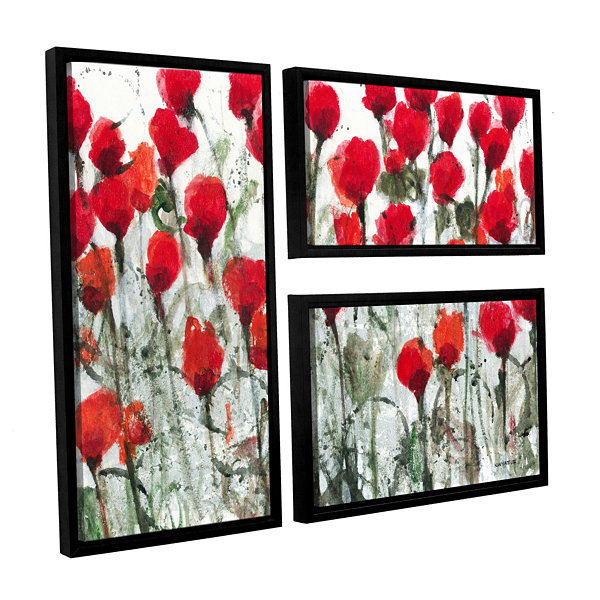 Blushing Meadow 3-pc. Flag Floater Framed Canvas Wall Art