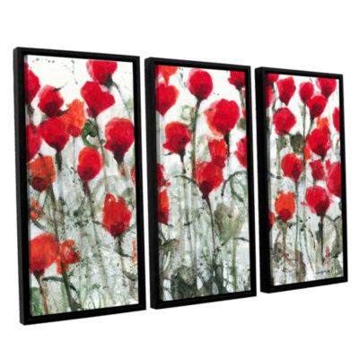 Blushing Meadow 3-pc. Floater Framed Canvas Wall Art