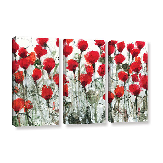 Blushing Meadow 3-pc. Gallery Wrapped Canvas WallArt
