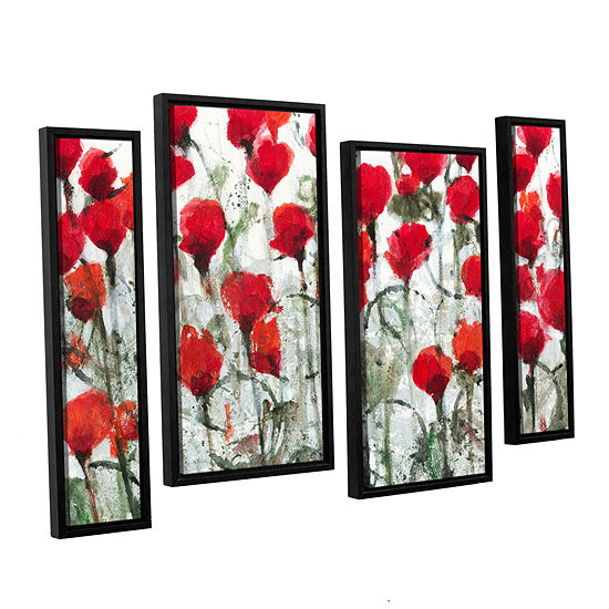 Blushing Meadow 4 Pc Floater Framed Staggered Canvas Wall Art