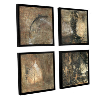 Bodhi Leaf Skeletons 4-pc. Square Floater Framed Canvas Wall Art