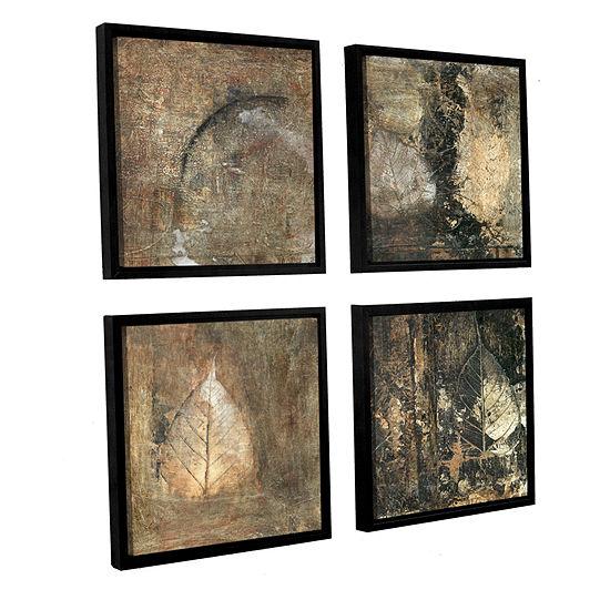 Bodhi Leaf Skeletons 4-pc. Square Floater Framed Canvas Wall Art