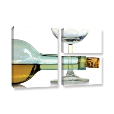 Bottles Plus Glass 3-pc. Flag Gallery Wrapped Canvas Wall Art
