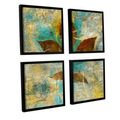 Brushstone Branch With Golden Leaves 4-pc. SquareFloater Framed Canvas Wall Art