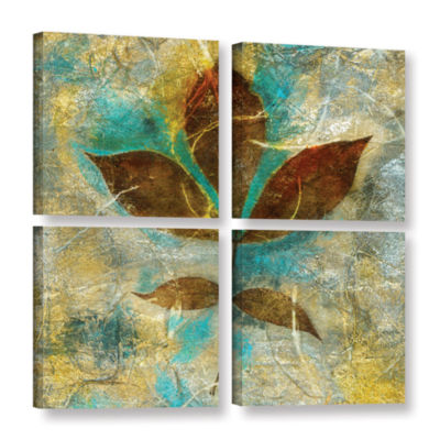 Brushstone Branch With Golden Leaves 4-pc. SquareGallery Wrapped Canvas Wall Art