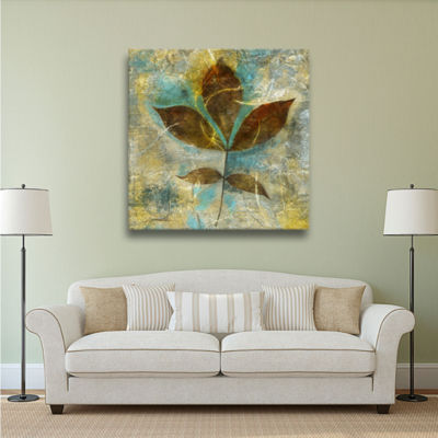 Brushstone Branch With Golden Leaves Gallery Wrapped Canvas Wall Art