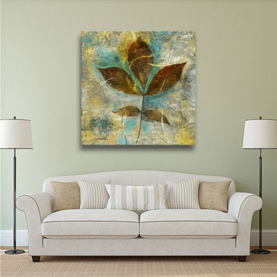 Branch With Golden Leaves Gallery Wrapped Canvas Wall Art