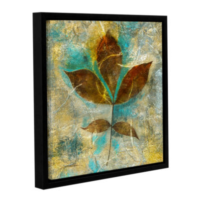 Brushstone Branch With Golden Leaves Gallery Wrapped Floater-Framed Canvas Wall Art