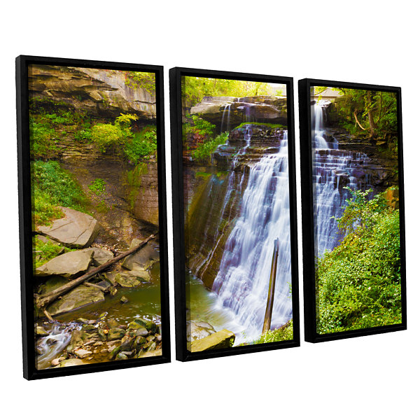 Brushstone Brandywine Falls 2 3-pc. Floater FramedCanvas Wall Art