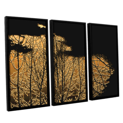 Brushstone Break In The Storm 3-pc. Floater FramedCanvas Wall Art