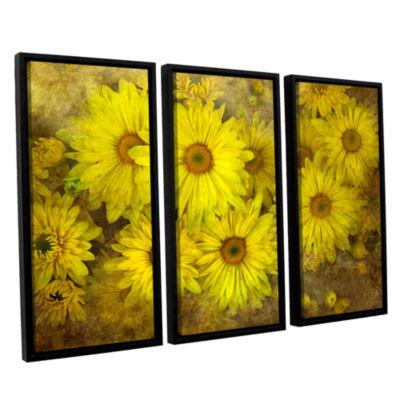 Brushstone Bright Sunflowers 3-pc. Floater FramedCanvas Wall Art