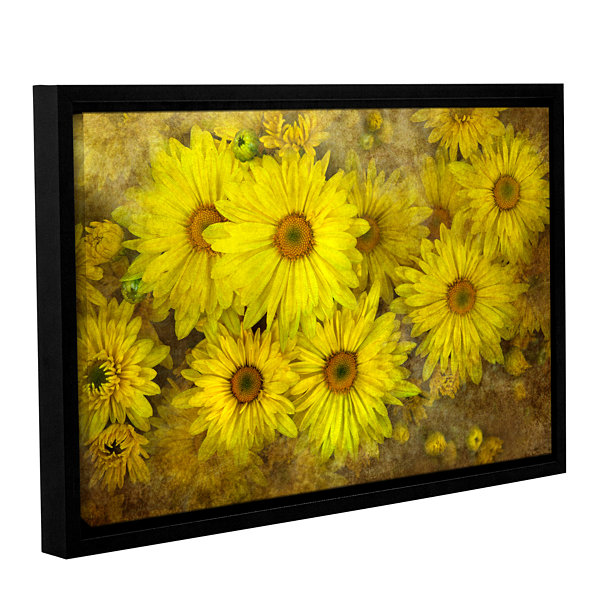 Bright Sunflowers Gallery Wrapped Floater-Framed Canvas Wall Art