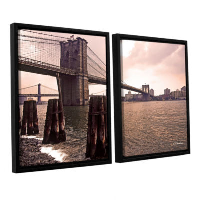 Brushstone Brooklyn Bridge At Sunset 2-pc. FloaterFramed Canvas Wall Art