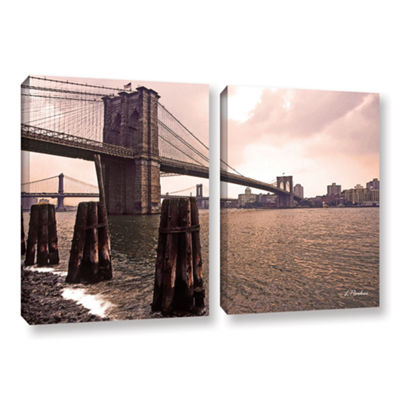 Brooklyn Bridge At Sunset 2-pc. Gallery Wrapped Canvas Wall Art