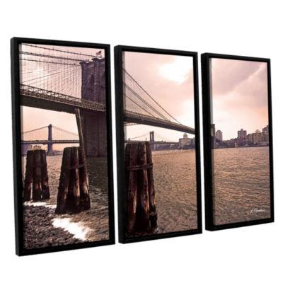Brushstone Brooklyn Bridge At Sunset 3-pc. FloaterFramed Canvas Wall Art