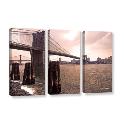 Brushstone Brooklyn Bridge At Sunset 3-pc. GalleryWrapped Canvas Wall Art