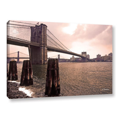 Brooklyn Bridge At Sunset Gallery Wrapped Canvas Wall Art