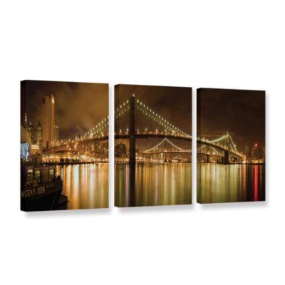 Brushstone Brooklyn Bridge 3-pc. Gallery Wrapped Canvas Wall Art