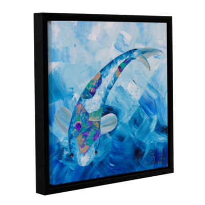 Blue Koi Gallery Wrapped Floater-Framed Canvas Wall Art