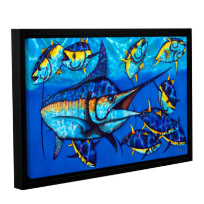 Blue Marlin Gallery Wrapped Floater-Framed CanvasWall Art