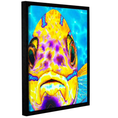 Blue Striped Snapper Gallery Wrapped Floater-Framed Canvas Wall Art