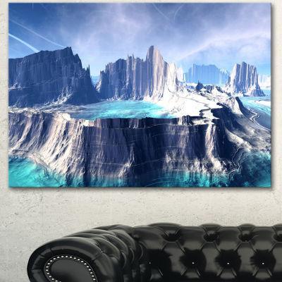 Design Art 3D Rendered Fantasy Alien Planet 3 Panel Landscape Canvas Art