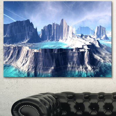 Designart 3D Rendered Fantasy Alien Planet LargeLandscape Canvas Art