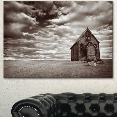 Designart Abandoned Desert Church Landscape CanvasArt Print