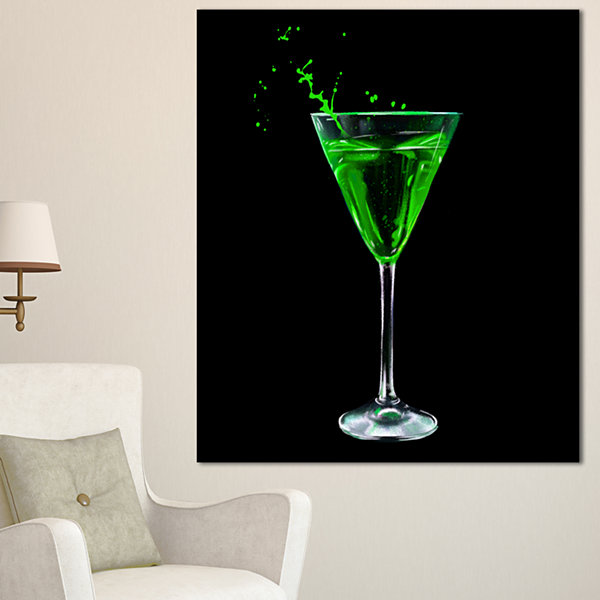 Designart Absinthe On Black Background Modern Canvas Wall Art