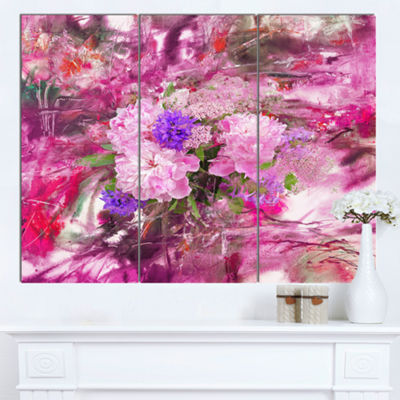 Designart Abstract Background With Pink Peony 3 Panel Extra Large Floral Wall Art