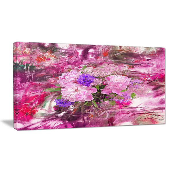 Designart Abstract Background With Pink Peony Extra Large Floral Wall Art