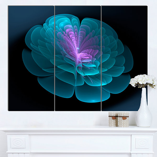 Designart Abstract Blue Floral Fractal Background3Panel Extra Large Floral Wall Art