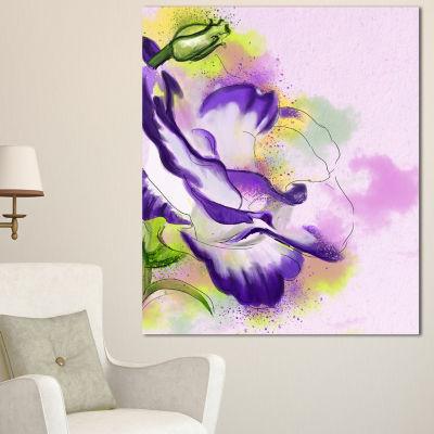 Designart Abstract Blue Flower Watercolor 3 PanelFloral Canvas Art Print