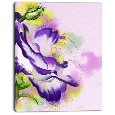 Designart Abstract Blue Flower Watercolor FloralCanvas Art Print