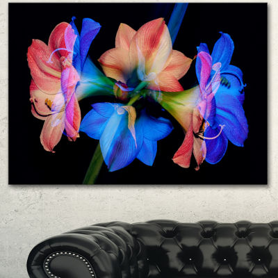 Designart Abstract Blue Red Flower On Black 3 Panel Extra Large Floral Wall Art