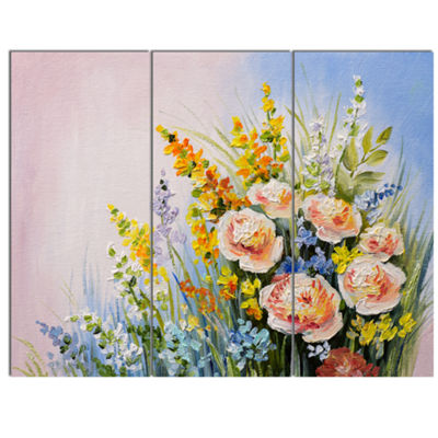 Designart Abstract Bouquet Of Summer Flowers 3 Panel Flower Artwork On Canvas