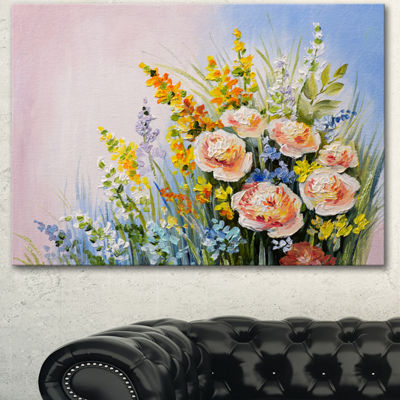Designart Abstract Bouquet Of Summer Flowers Flower Artwork On Canvas