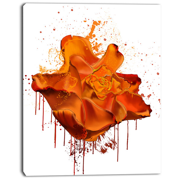 Design Art Abstract Brown Rose With Splashes LargeFloral Canvas Artwork
